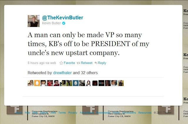 Kevin Butler quits Sony via Twitter, Sony says to 'keep following his tweets'