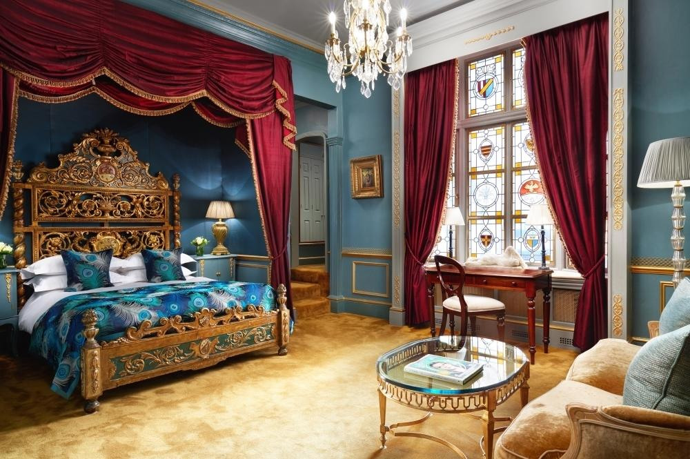"""<p>At London's The Gore Hotel, <a href=""""http://www.gorehotel.com/rooms-and-suites/junior-suites/judy-garland"""" target=""""_blank"""">The Judy Garland</a> features the famous film star's own bed, reportedly sent from Hollywood for the musical icon and donated to the hotel to show her gratitude after a particularly long stay. The stained glass windows, silk wallpaper and oil paintings will transport you to the magical Land of Oz. The Wizard of Oz ruby slippers resided in the room until recently when they went missing but have since been replaced with a similar pair. From £300 per night.</p>"""