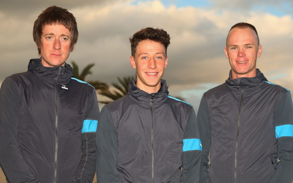 Josh Edmondson (centre) pictured alongside Bradley Wiggins (left) and Chris Froome at a Team Sky training camp in 2013 - Getty Images