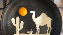Artista transforma ovos fritos em verdadeiras obras de arte
