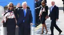 """Melania Trump ridiculizada por su traje de """"azafata"""" al aterrizar en Reino Unido para una visita de estado"""