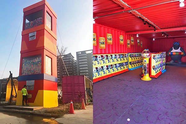 淡水蛋蛋嘉年華有高約4層樓(12公尺)巨型扭蛋機 (圖/2017淡水蛋蛋嘉年華)