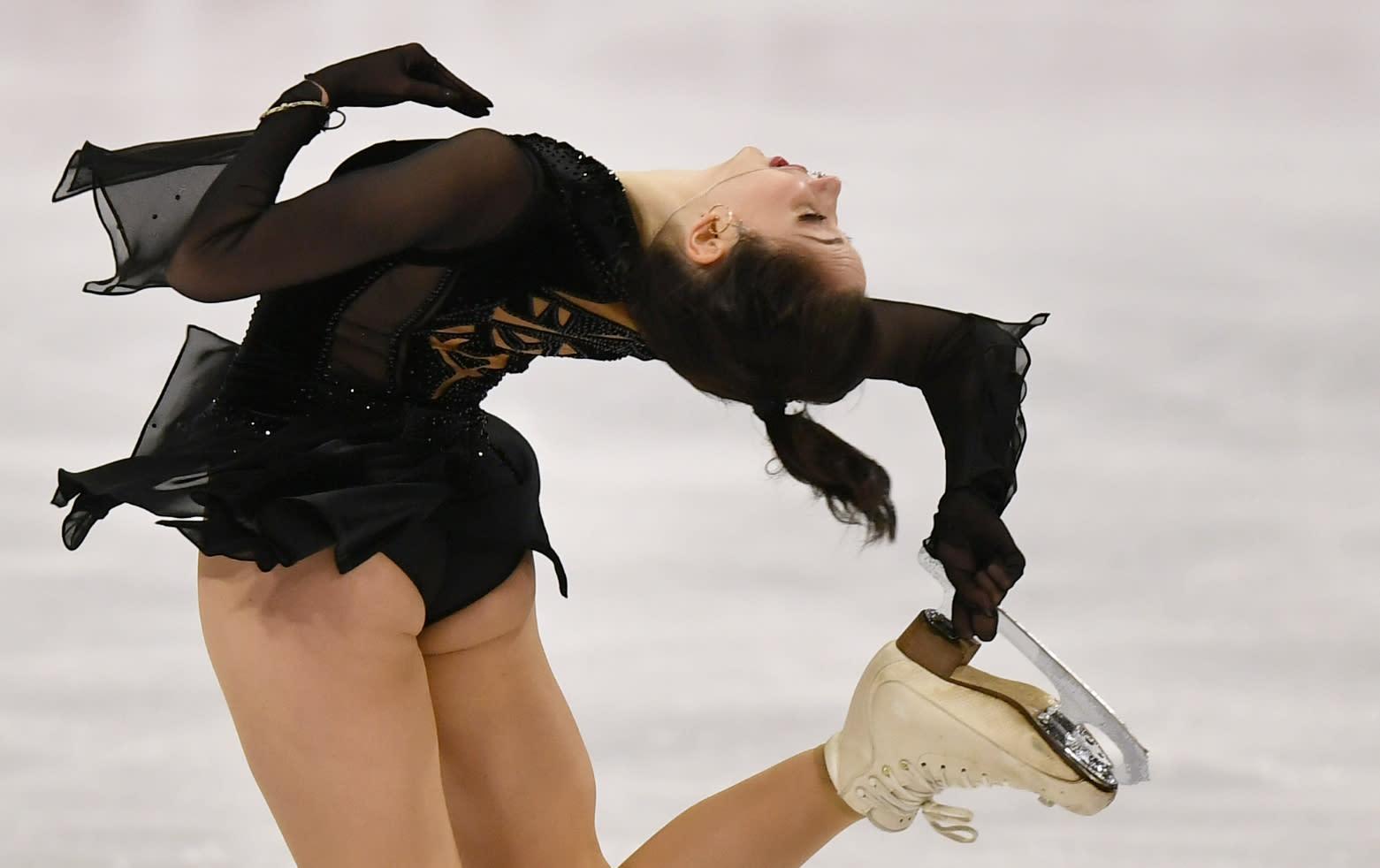 Russian skater Elizaveta Tuktamysheva performs during the Ladies Free Skating at the Figure Skating World Championships in Stockholm, Sweden, Friday, March 26, 2021. (AP Photo/Martin Meissner)