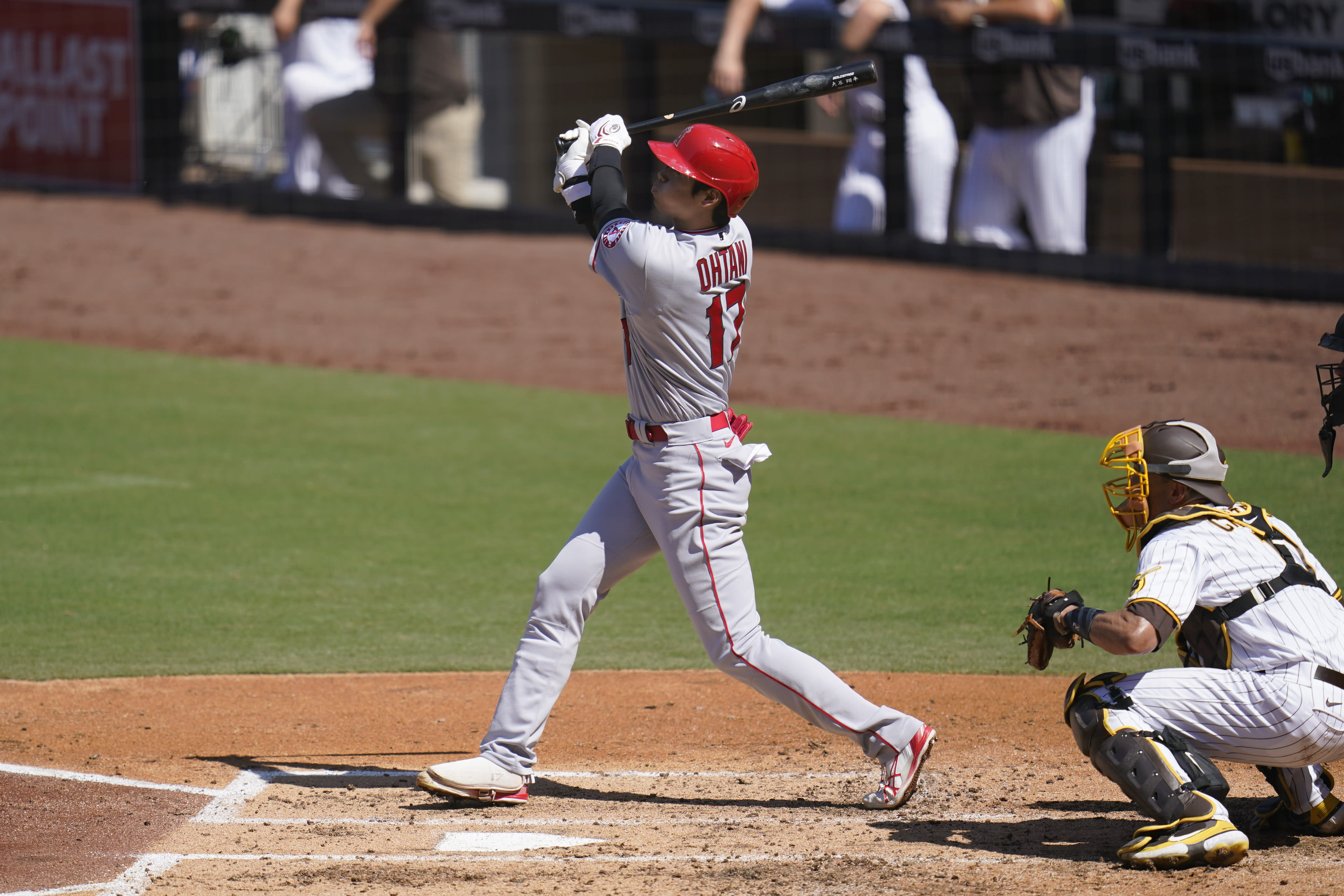 Los Angeles Angels' Shohei Ohtani watches his flyout during the third inning of a baseball game against the San Diego Padres, Wednesday, Sept. 23, 2020, in San Diego. (AP Photo/Gregory Bull)