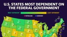 These are the U.S. states most and least dependent on the federal government