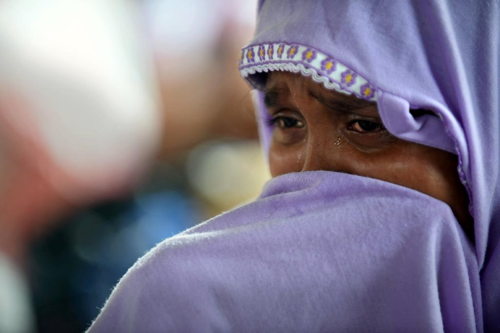 Hasina Begam, a rescued Rohingya, in the fishing town of Kuala Langsa in Aceh province on May 16, 2015 where hundreds of migrants from Myanmar and Bangladesh are taking shelter after being rescued by Indonesian fishermen (AFP Photo/Romeo Gacad)