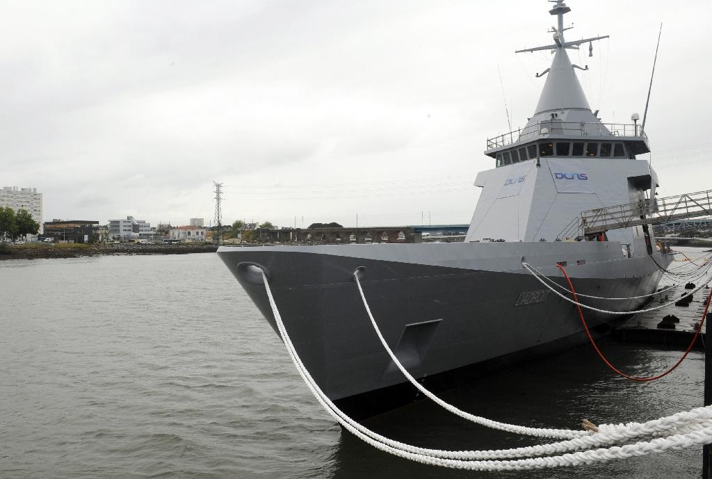 "French DCNS designed offshore patrol vessel (OPV) Gowind corvette ""L'Adroit"" lies at anchor in the harbour of the French western town of Lorient, on June 17, 2011"
