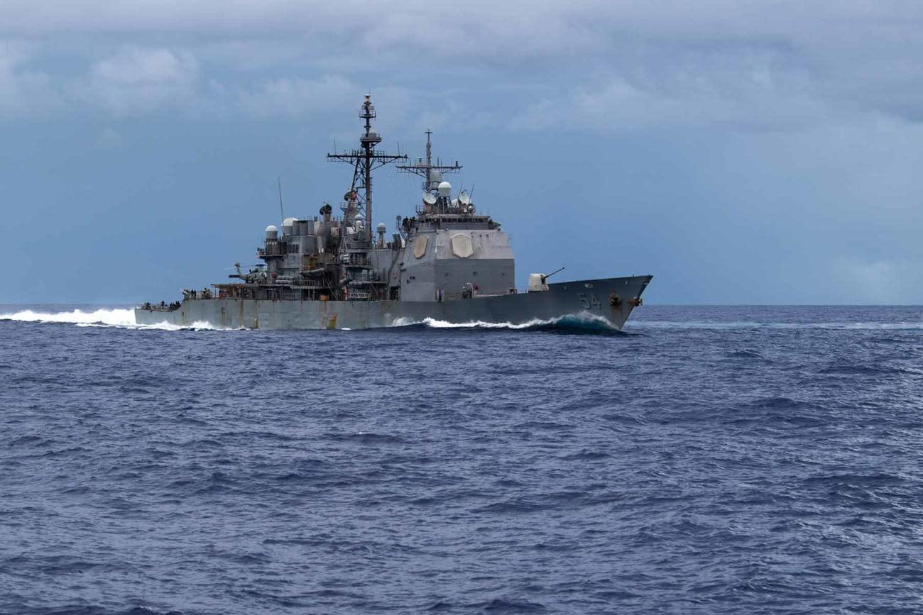 Fire on Navy Cruiser Antietam Injures 13 in Philippine Sea