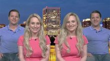 Identical twins TV interview almost looks like an optical illusion