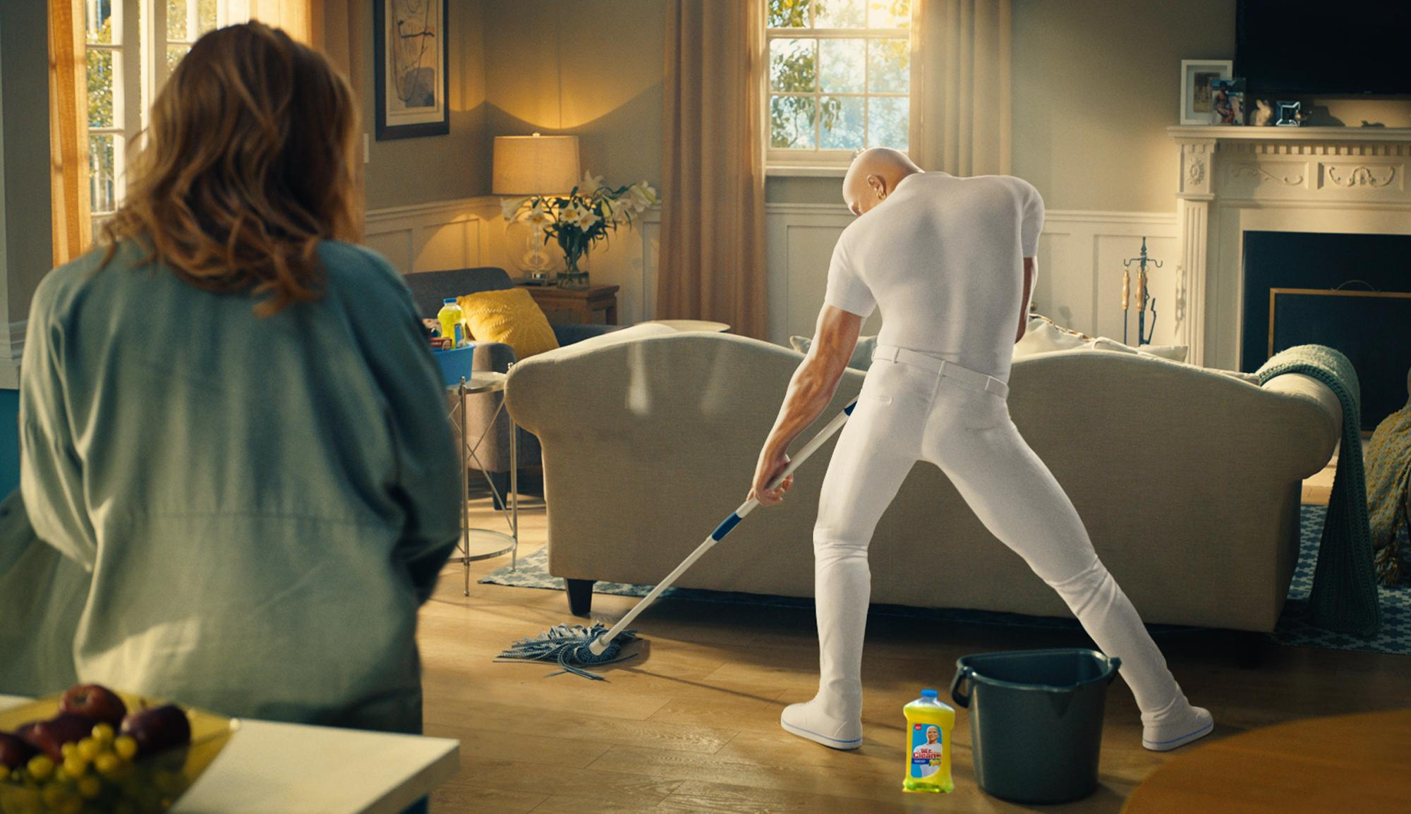 """This image provided by Procter & Gamble shows a still from the company's Mr. Clean """"Cleaner of Your Dreams"""" Super Bowl 51 spot. The New England Patriots defeated the Atlanta Falcons, 34-28, in overtime, in Super Bowl 51, on Sunday, Feb. 5, 2017. (Procter & Gamble via AP)"""