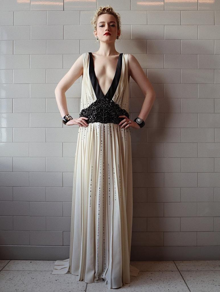 "<h2>Julia Garner in Prada</h2><br><em>Ozark</em>'s Julia Garner gave us serious Roaring '20s vibes in this ivory-and-black Prada gown.<span class=""copyright"">Photo Credit: Hung Vaango.</span>"