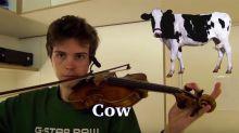 Desde un elefante hasta un burro, este chico imita animales con su violín