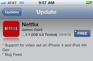 Netflix brings video out support to iPhone 4, fourth gen iPod touch