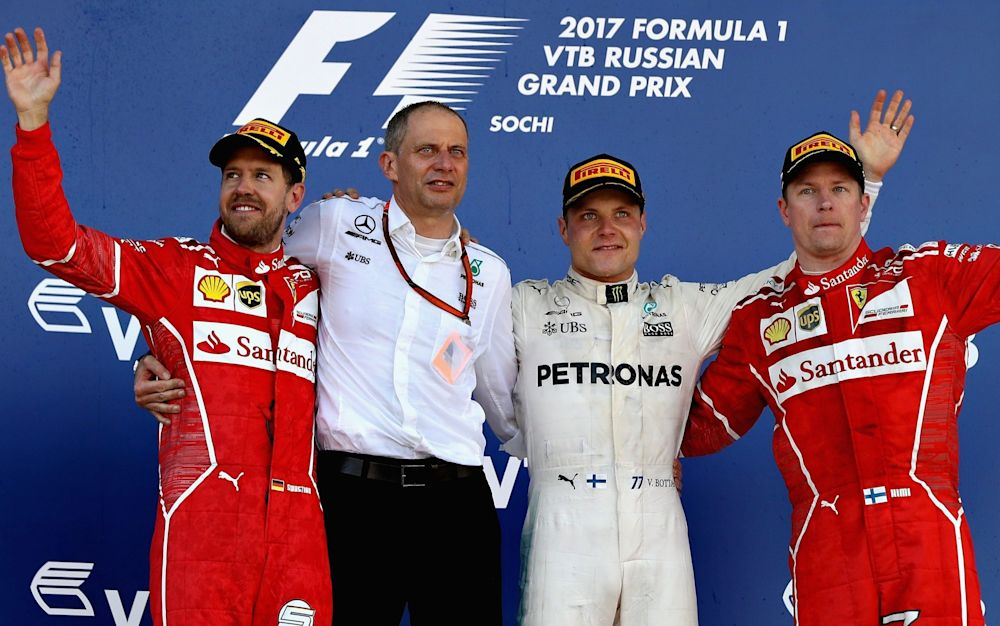 Valtteri Bottas celebrates victory ahead of Ferrari duo Sebastian Vettel and Kimi Raikkonen - Getty Images Europe