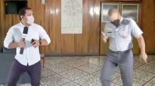 Policial de São Paulo dança passinho que viralizou nas redes com repórter da Globo
