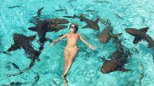 ¿Te bañarías con tiburones por un selfie? Ella lo hizo y se llevó un buen susto