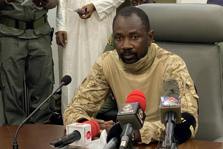 Colonel Assimi Goita speaks to the press at the Malian Ministry of Defence in Bamako, Mali