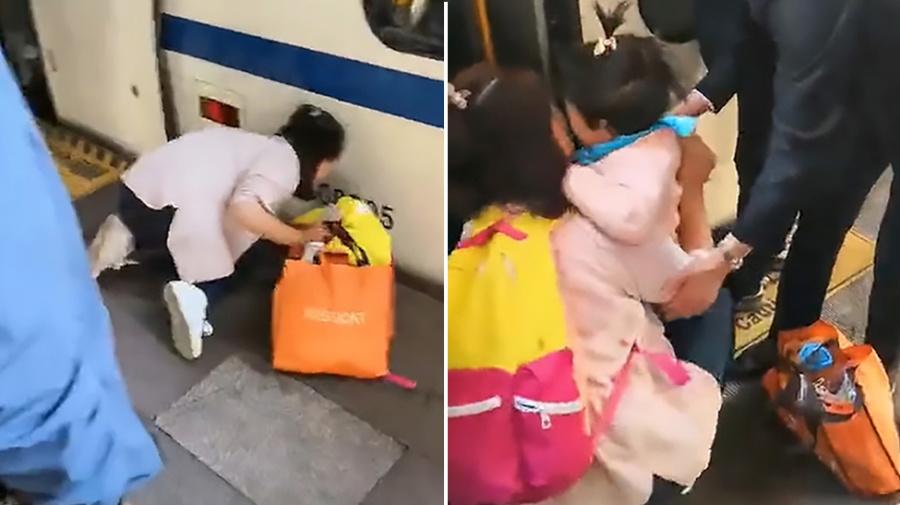 Girl falls into gap between train and platform while mum looks at phone