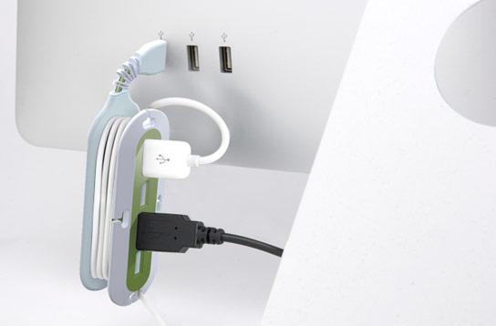 Quirky Contort contorts around your excess cabling, doubles as 4-port USB hub