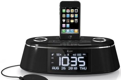 "iLuv iPhone dock includes ""bed shaker"""
