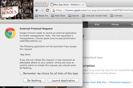 Make Chrome open iTunes store links in iTunes