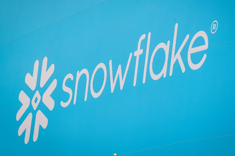 The company logo for Snowflake Inc. is displayed on a banner to celebrate the company's IPO at the NYSE in New York