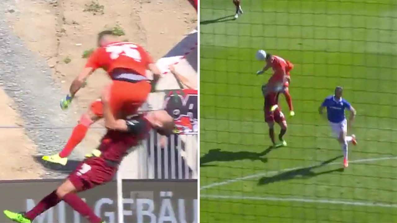 'Calamity': Goalkeeper cleans out defender in horrible mix-up