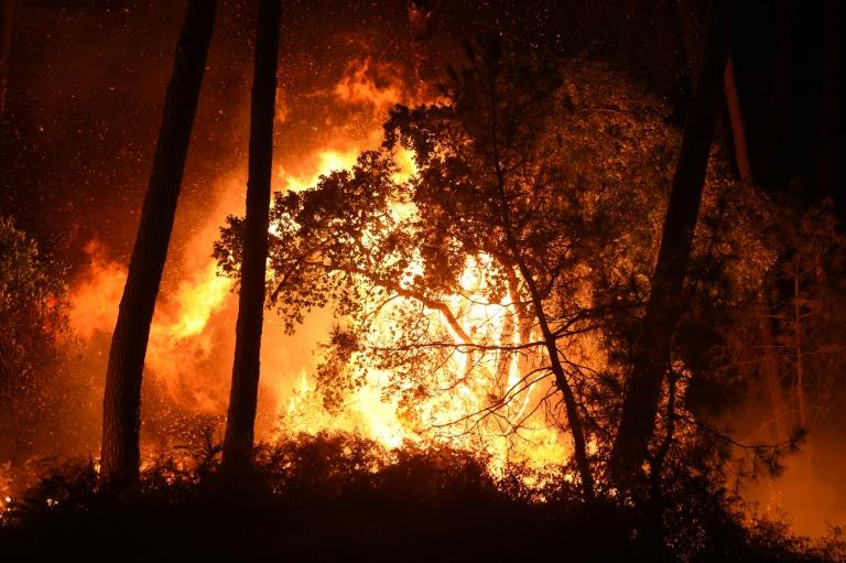 The blaze erupted late Thursday in the Chiberta forest park at Anglet in southwest France, whose beaches just north of Biarritz draw surfers from around the world. (AFP Photo/GAIZKA IROZ)