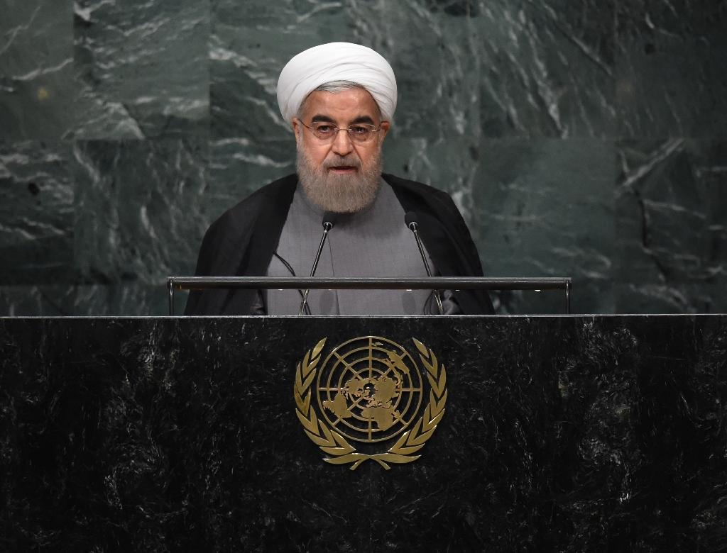 Iranian President Hassan Rouhani addresses the United Nations General Assembly in New York, on September 22, 2016 (AFP Photo/Timothy A. Clary)