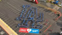 Hundreds of Smart & Final Employees Join to Create Los Angeles Dodgers Logo Formation
