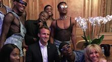 Critics mock Emmanuel Macron as unpresidential for posing with risqué dance troupe at Elysée palace