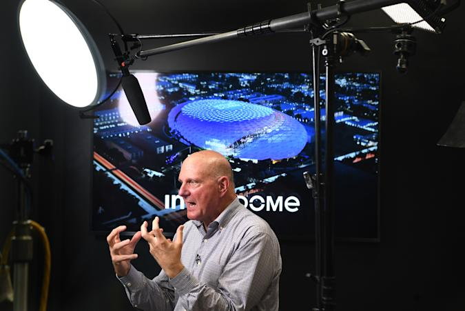 Los Angeles, CA. September 16, 2021: Clippers owner Steve Ballmer taels with the media after a virtual tour of the Intuit Dome, the future home of the Los Angeles Clippers. (Wally Skalij/Los Angeles Times via Getty Images)