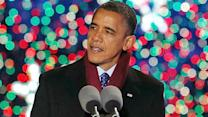 Obama at lighting ceremony: A big Christmas tree shines out of the darkness