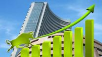 Sensex up by 140 points, rupee falls in early trade