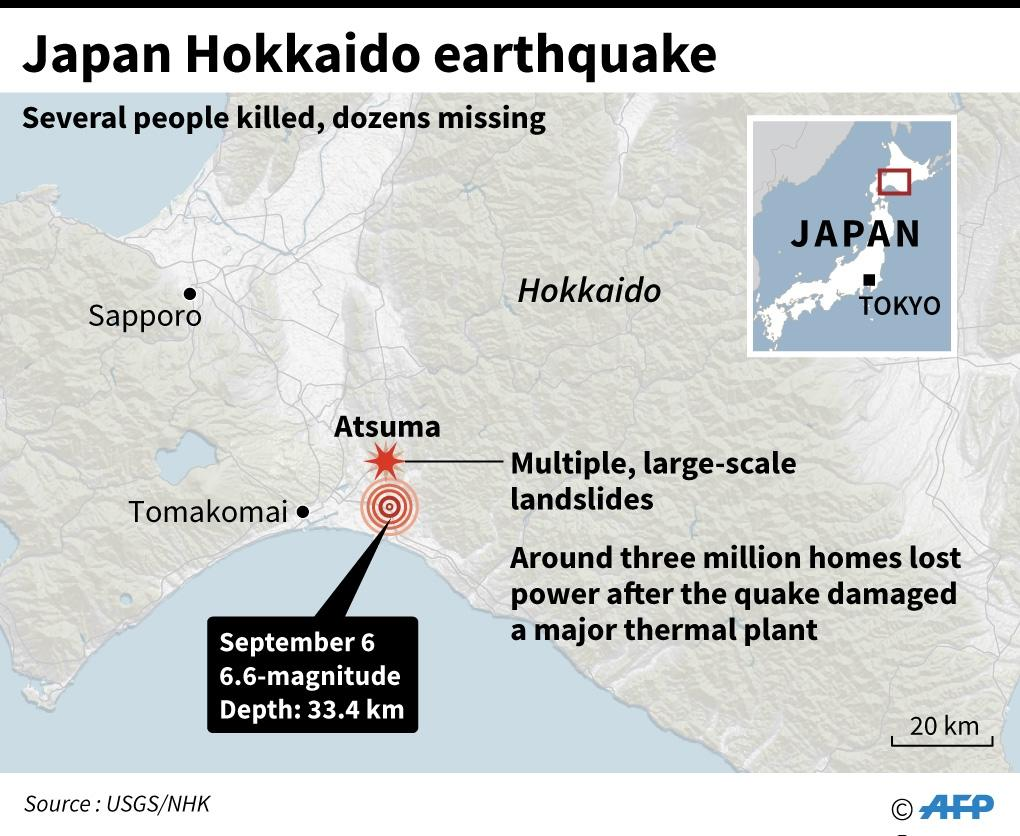 Updated map locating the epicentre of a 6.6-magnitude quake that hit Hokkaido and landslide zone. (AFP Photo/Laurence CHU)