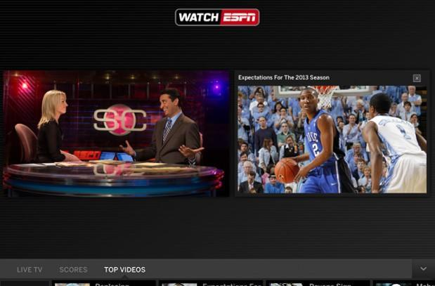 WatchESPN update for iOS adds Live Toolbar with highlights, guide and scores