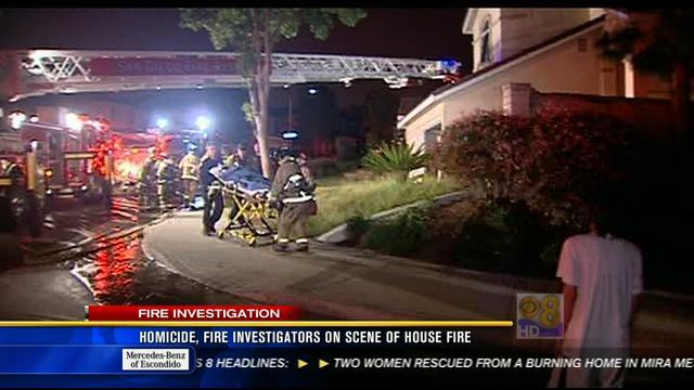Homicide, fire investigators on scene of house fire in Mira Mesa