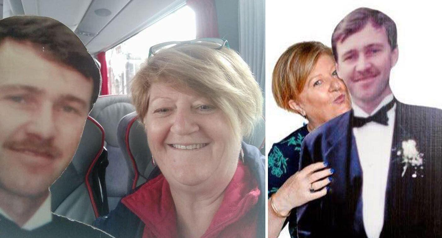 Why this woman is travelling with a cardboard cut out of her husband