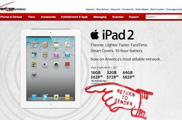 Apple returns a few Verizon iPad 2s to sender (updated: some got through)