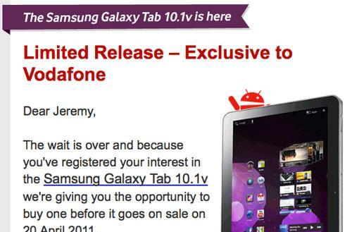 Galaxy Tab 10.1v up for pre-order at Vodafone Australia, shipping to start May 1st