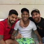 Lionel Messi, Neymar and Luis Suarez link up for one final time in Barcelona reunion
