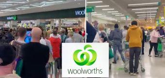 Wild scenes at Woolies ahead of lockdown