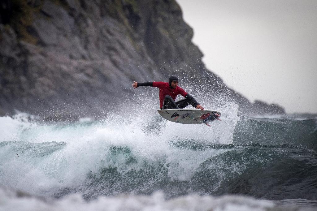 Brazilian surfer Gil Ferreira was one of 32 participants in this year's Lofoten tournament (AFP Photo/Olivier MORIN)