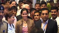 Saina gets a hero's welcome at home