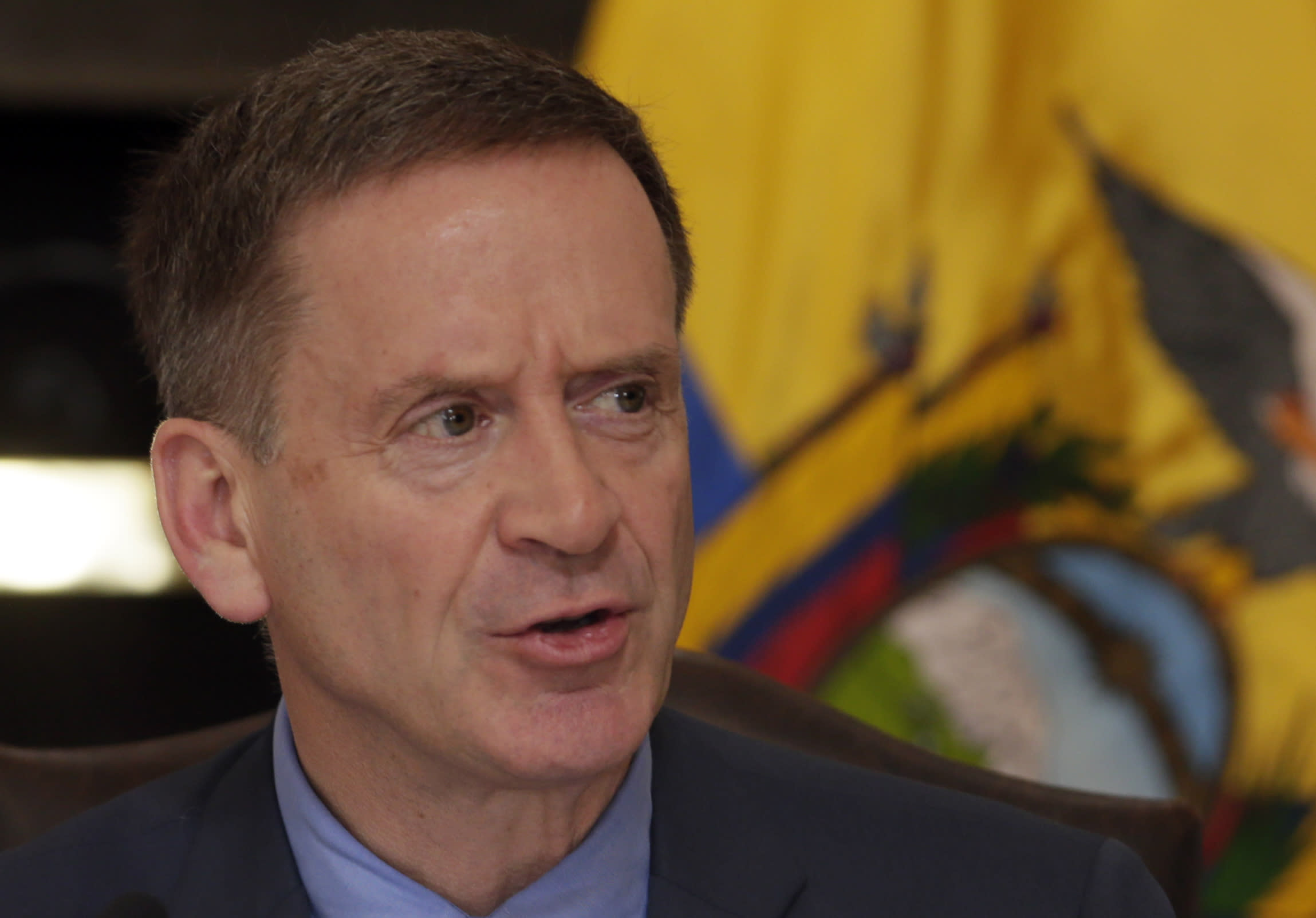 Mark Green, USAID administrator, talks after a signing ceremony, in Quito, Ecuador, Wednesday, May 15, 2019. USAID returns to Ecuador for the first time since being expelled from the country in 2014 by former President Rafael Correa. (AP Photo/Dolores Ochoa)