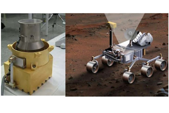 Radiation Assessment Detector. Photo of RAD flight model in the lab (left) and artwork of an older MSL rover design, showing RAD charged particle channel 65-degree field-of-view pointing towards the zenith.