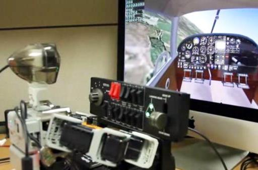 Watch a tiny robot fly an aircraft nearly as well as a real pilot