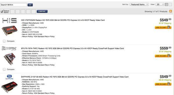 AMD Radeon HD 7970 now shipping: $550 and up for unlimited* frames-per-second