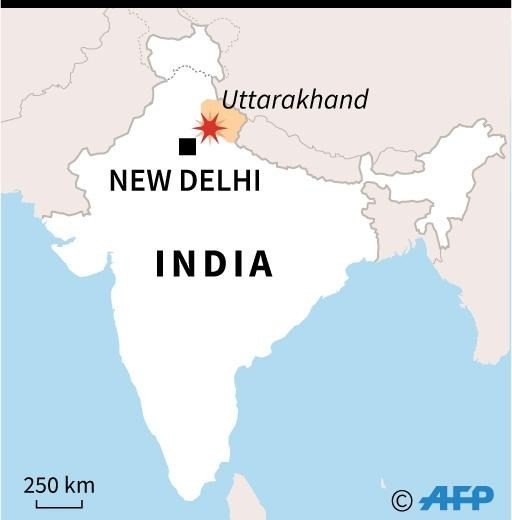 Map of India locating bus crasah in Pauri Garhwal, Uttarakhand state (AFP Photo/AFP )