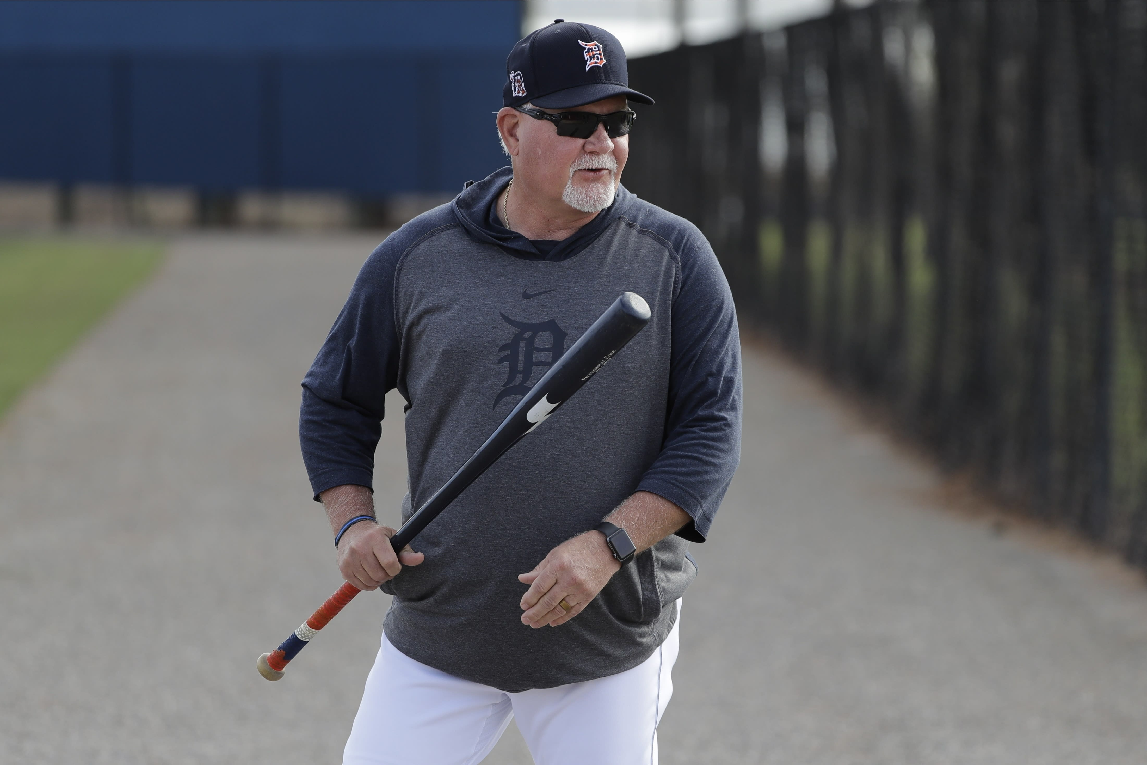 FILE - In this Feb. 15, 2020, file photo, Detroit Tigers manager Ron Gardenhire arrives for a spring training baseball workout in Lakeland, Fla. Gardenhire announced his retirement prior to Detroit's game against the Cleveland Indians on Saturday, Sept. 19,2020. (AP Photo/Frank Franklin II, File)
